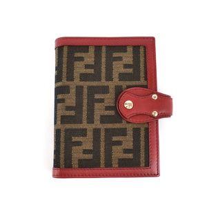"""FENDI """"Zucca"""": Red, Leather & """"FF"""" Logo Agenda pn"""